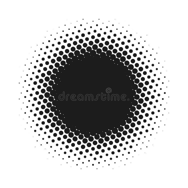 Halvton prucken vektorabstrakt begreppbakgrund, prickmodell i cirkelform Svart komiskt baner isolerad vit bakgrund royaltyfri illustrationer