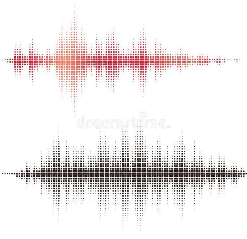 Halvtonen kvadrerar vektorbeståndsdelar. Den solida vektorn vinkar royaltyfri illustrationer
