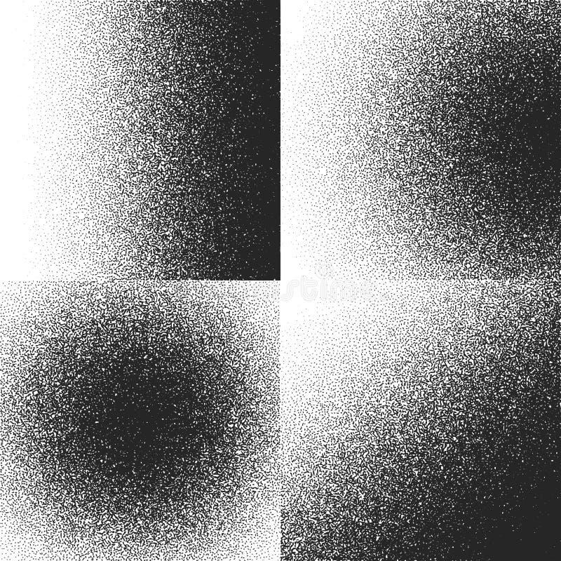 Halvtontexturer, modeller med svarta prickar, bakgrunder för vektor för lutningkorngrunge vektor illustrationer