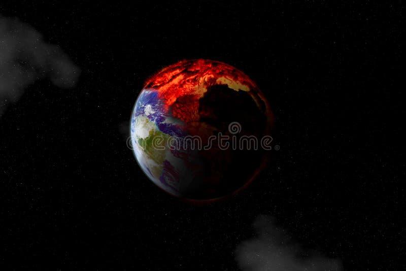 Halvvägsbränning av jorden från en symbol för global uppvärmning eller en apokalyps och katastrof Vissa element arkivfoto