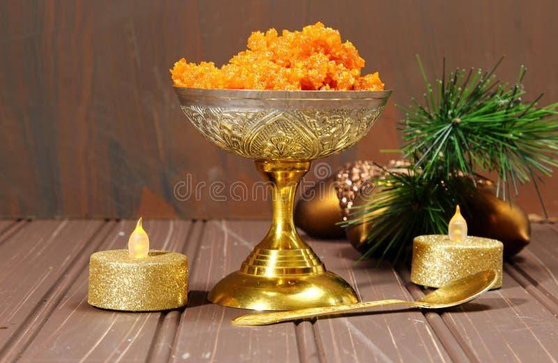 Halwa de Gajar ou sobremesa da cenoura fotografia de stock royalty free