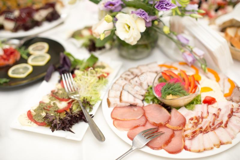 Ham, balyk, cheese, sauce with snacks on a plate. Fresh and delicious food for catering. stock photos