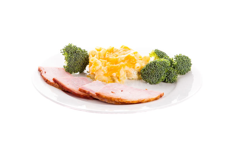 Ham Broccoli and Mac and Cheese royalty free stock photography