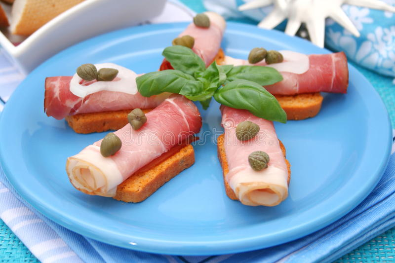 Ham and capers stock image