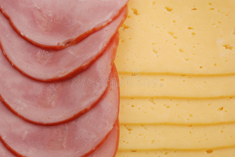 Ham, cheese and bread royalty free stock photos