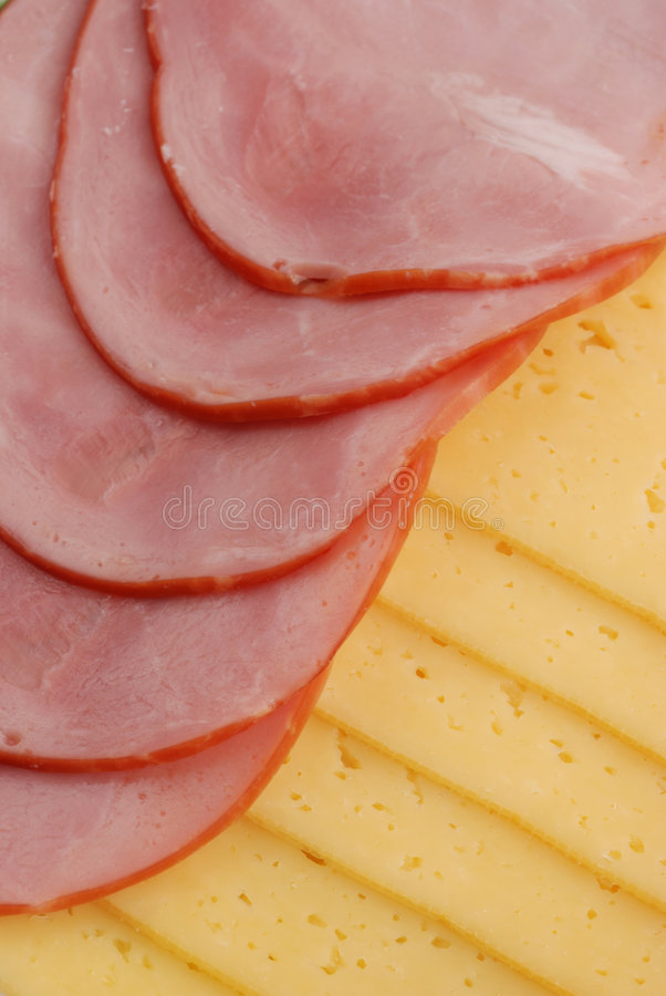 Ham, cheese and bread stock photography