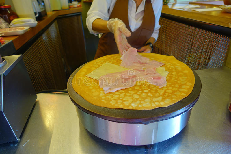 Ham and cheese crepe stock photos
