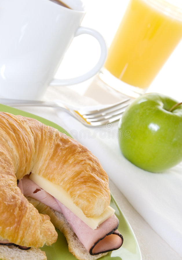 Ham And Cheese Croissant With Apple Breakfast Royalty Free Stock Photography