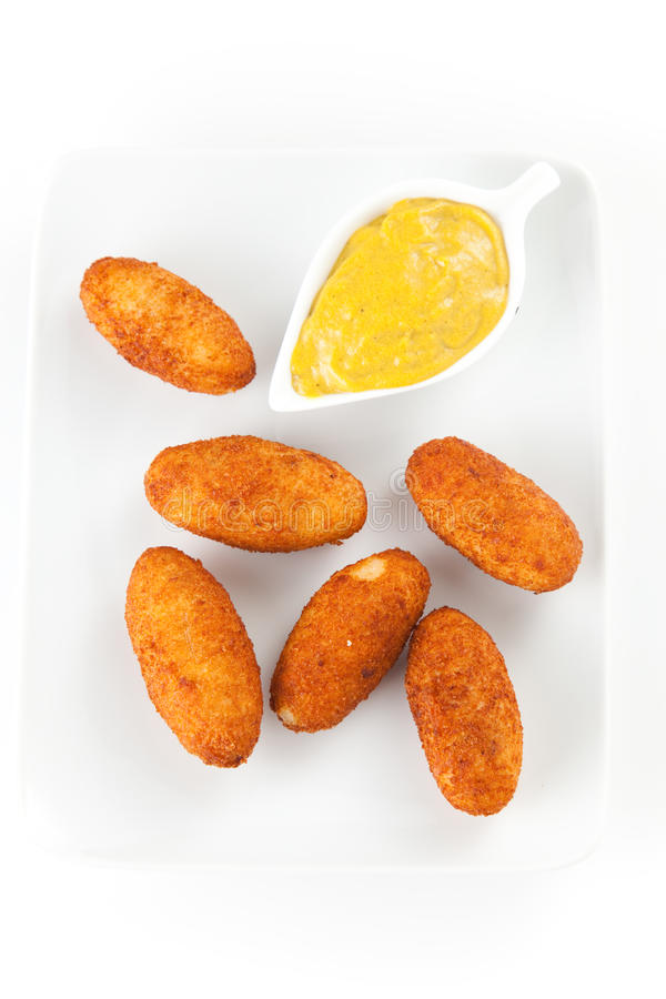 Ham and cheese croquettes stock image