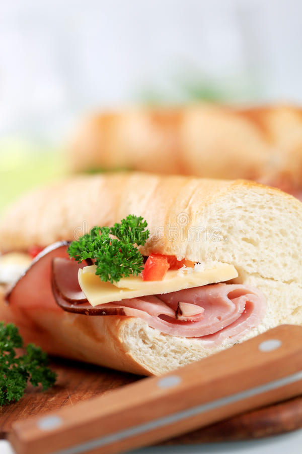 Ham and cheese sub sandwich. Ham and cheese submarine sandwich - detail royalty free stock photos