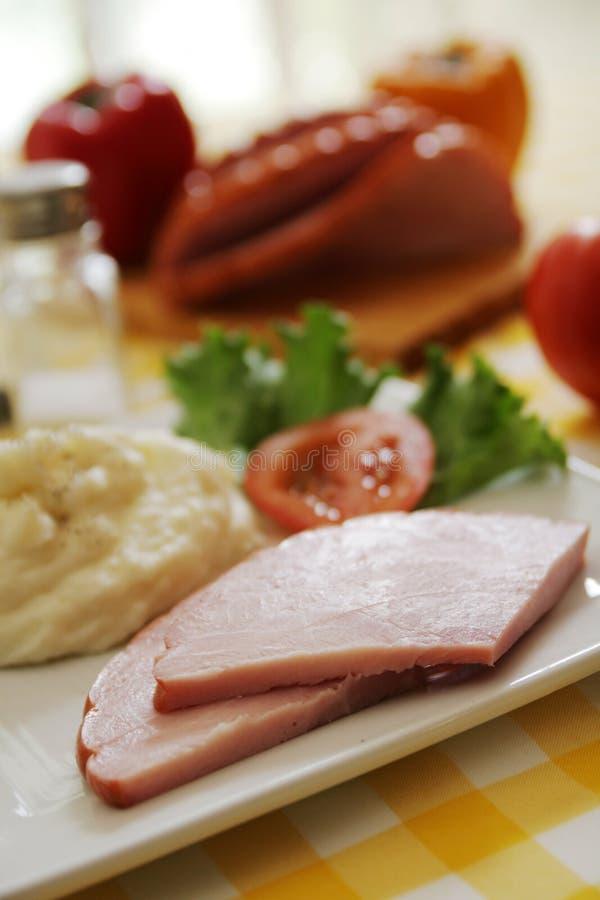 Ham en aardappels royalty-vrije stock fotografie