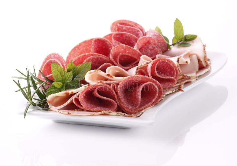 Ham en salami royalty-vrije stock fotografie