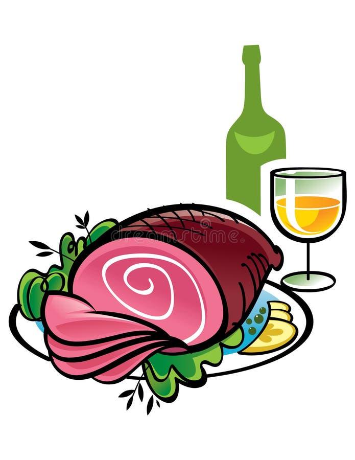 Ham en Wijn vector illustratie