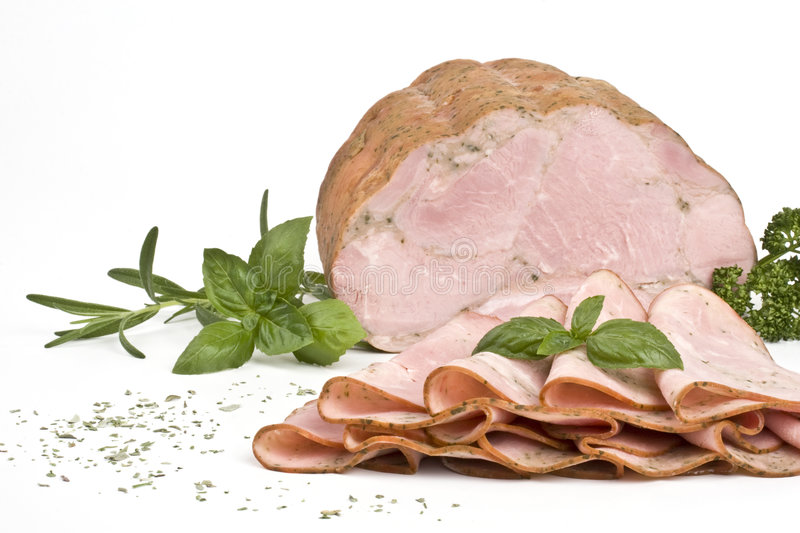 Ham with herbs stock image