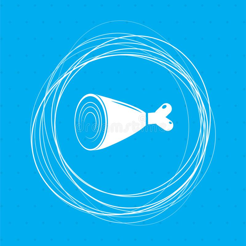 Ham Icon on a blue background with abstract circles around and place for your text. stock illustration