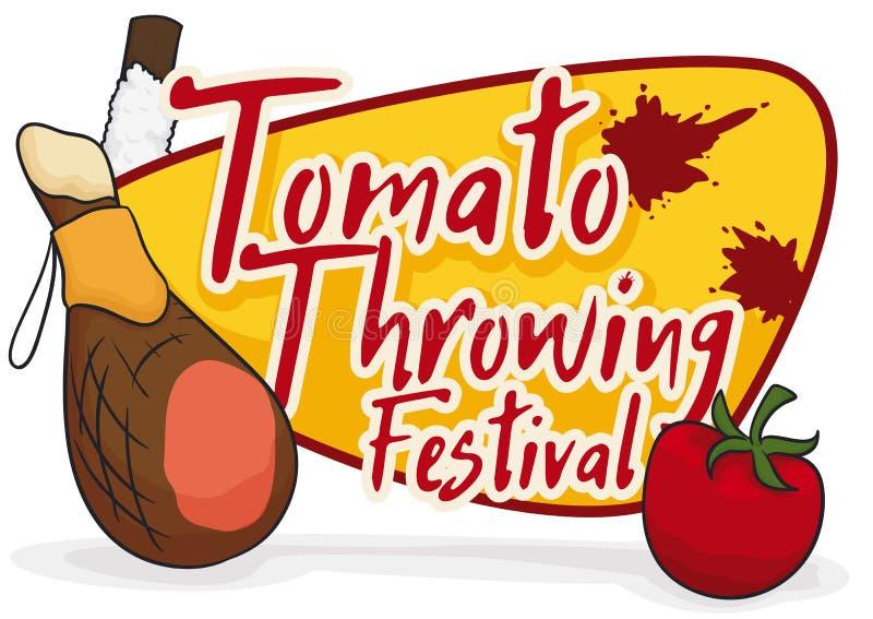 Ham, Ingezeepte Stok en Tomaat voor Tomatina-Festival, Vectorillustratie vector illustratie