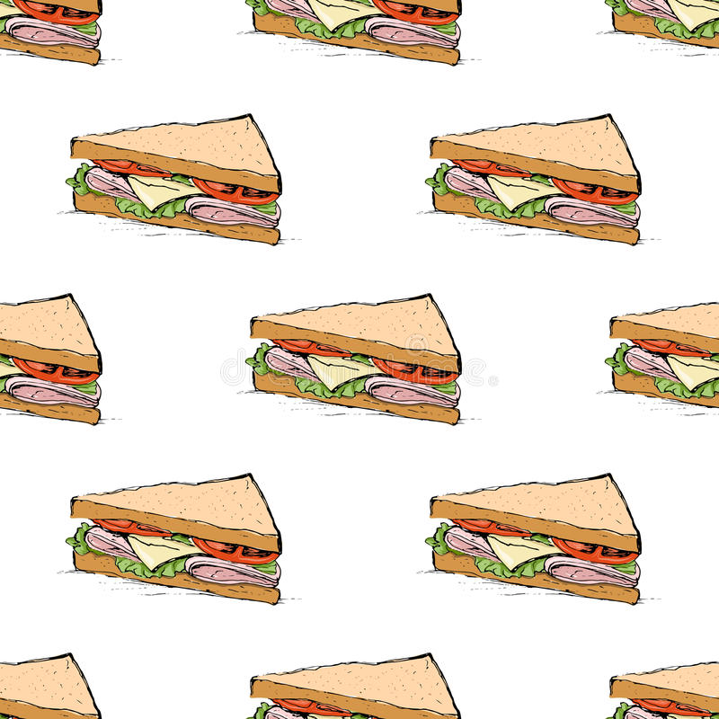 Ham, kaas, tomaten en slasandwich naadloos patroon royalty-vrije illustratie