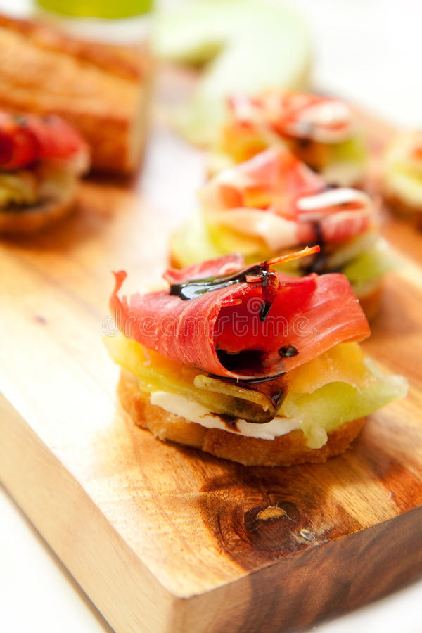 Download Ham and Melon Appetizers stock image. Image of reduction - 18196067