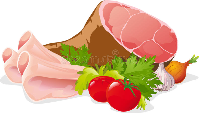 Ham met groente - vector geïsoleerde illustratie royalty-vrije illustratie