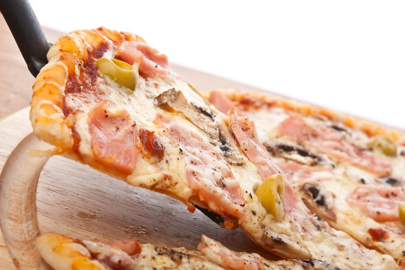 Ham and Mushroom Pizza with Olives royalty free stock image