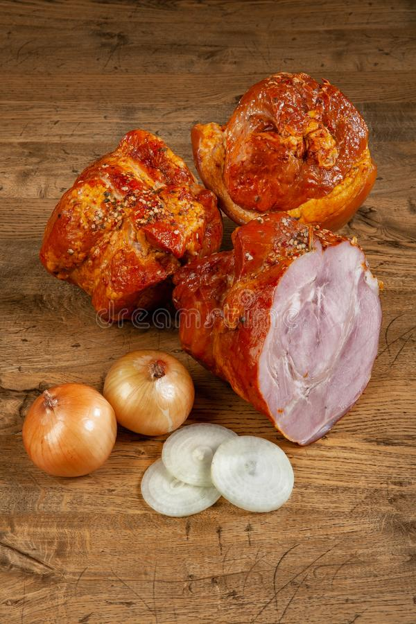 Ham And Onion royalty free stock photos