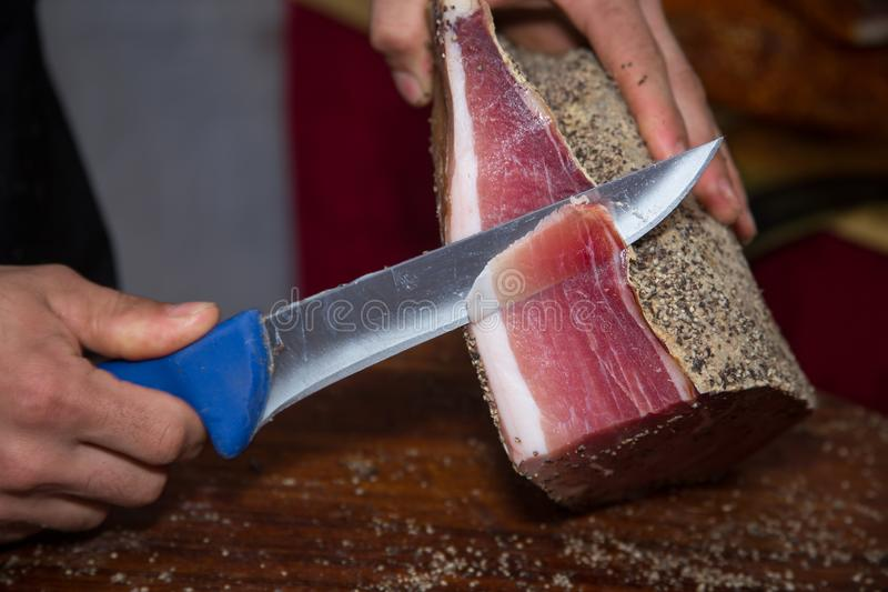 Ham of parma cut into slices typical products of Emilia Romagna. Parma italy stock photo