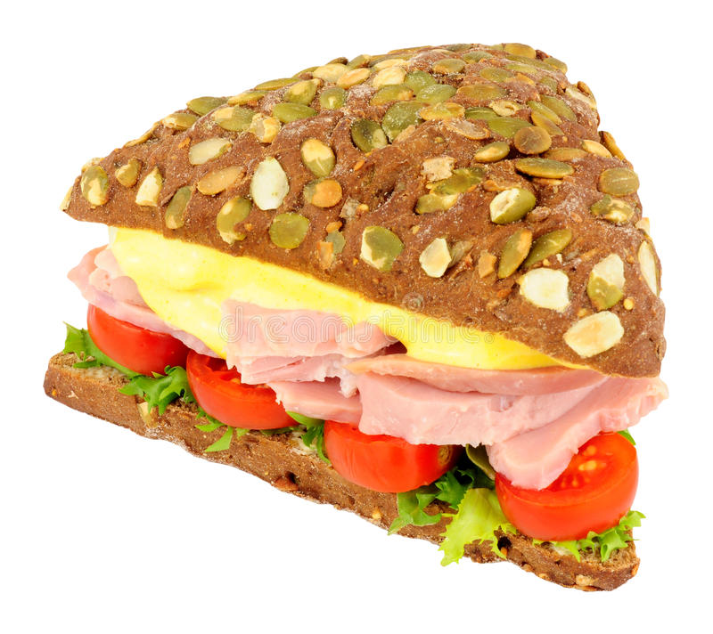 Ham Salad Sandwich On Pumpernickel-Brood royalty-vrije stock foto's