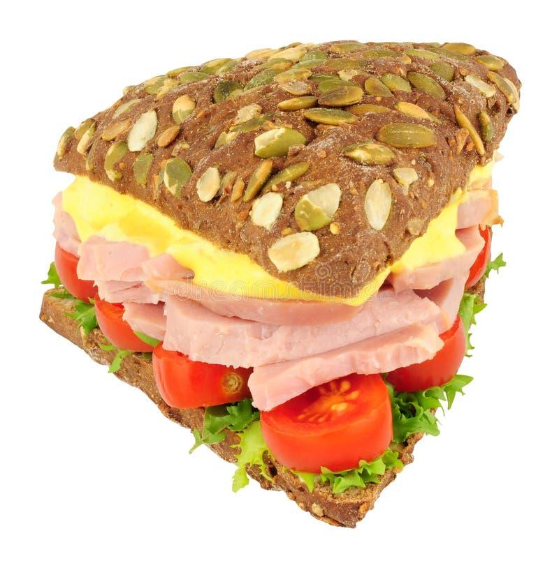 Ham Salad Sandwich On Pumpernickel-Brood stock afbeelding