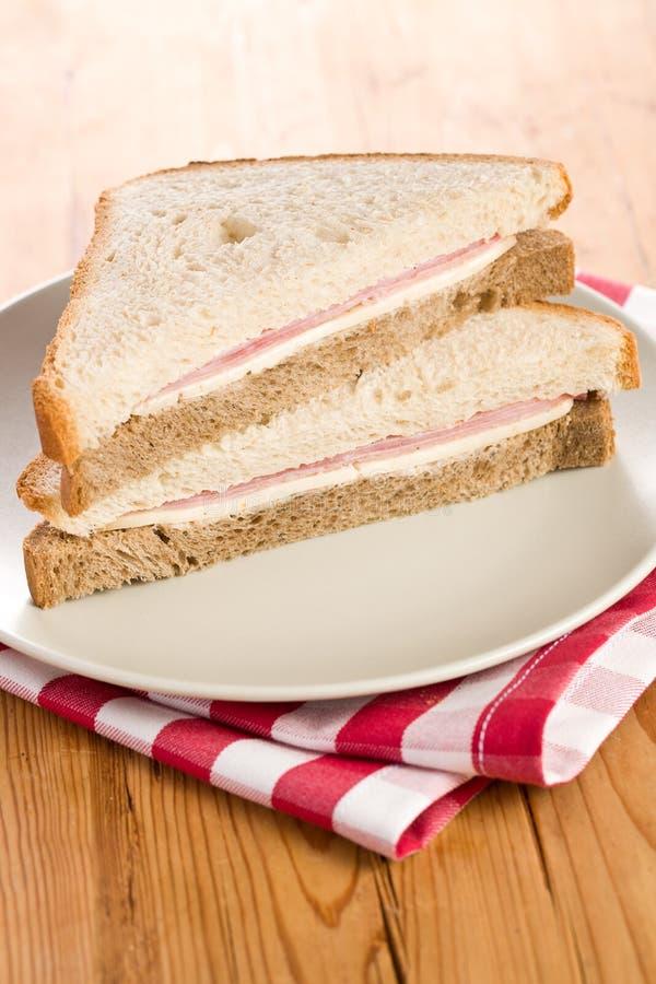 Ham Sandwich On Checkered Napkin Royalty Free Stock Image