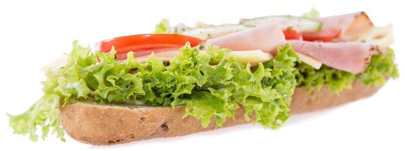 Ham Sandwich no branco imagens de stock