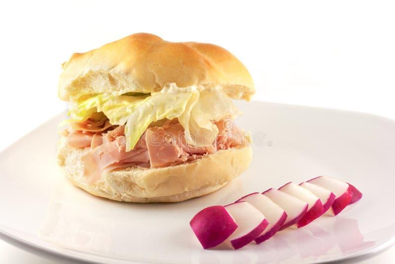 Ham Sandwich On un petit pain dur images libres de droits