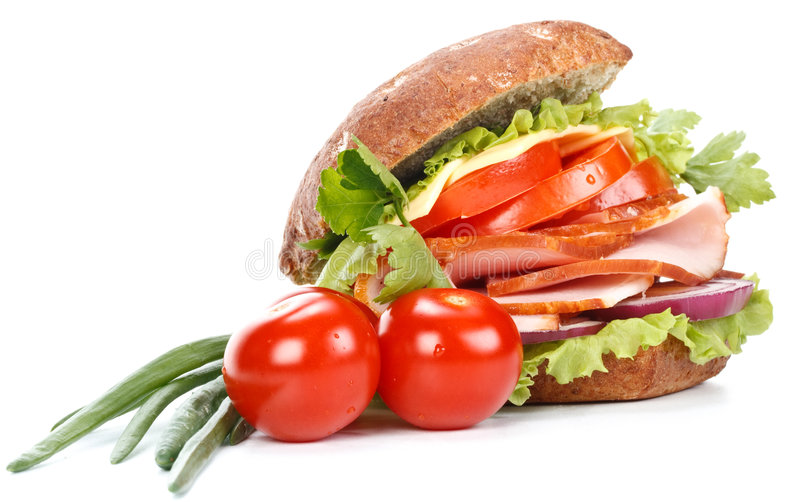 Ham sandwich with vegetables royalty free stock photos