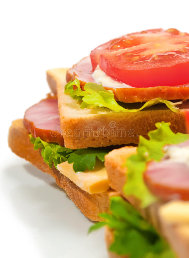 Free Ham Sandwich With Cheese, Tomatoes And Lettuce Stock Photos - 23394293