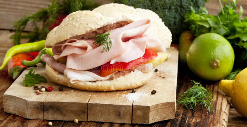 Ham Sandwiches with Vegetables stock photos