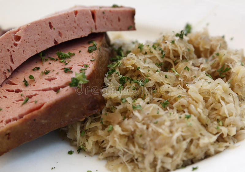 Download Ham steak and sauerkraut stock photo. Image of mealtime - 15404460