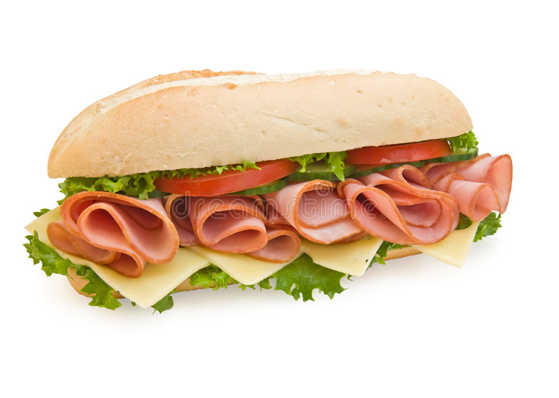 Ham & Swiss sub sandwich on white background royalty free stock images