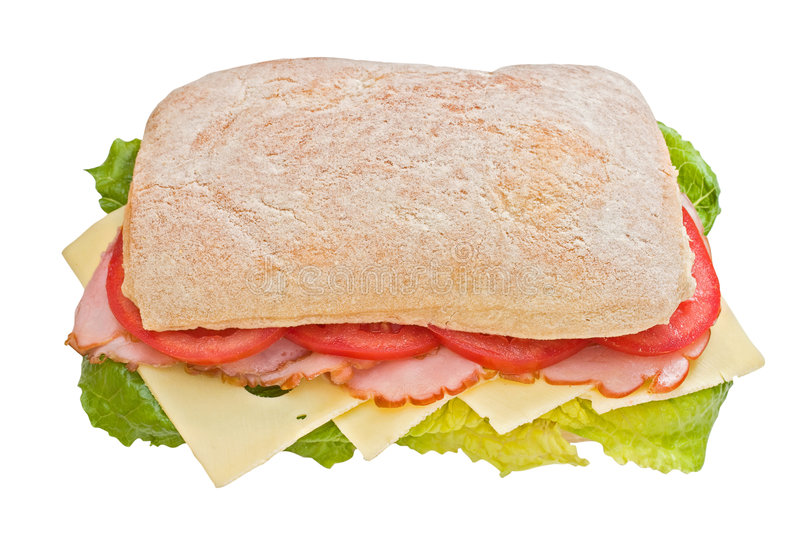 Download Ham, Tomatoes And Cheese Ciabatta Stock Image - Image: 4970851