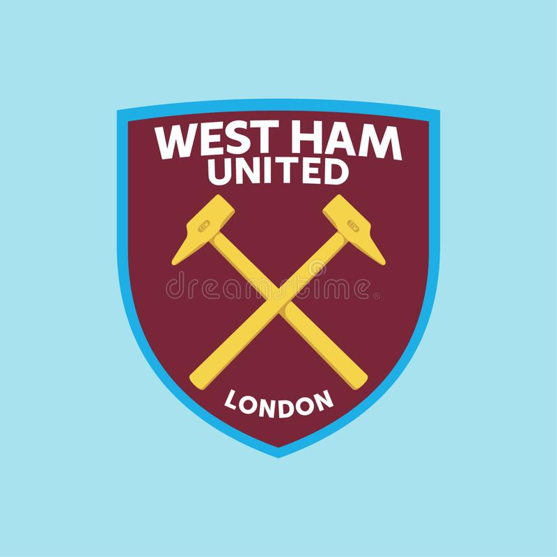 Ham United Logo Vetora ocidental ilustração royalty free