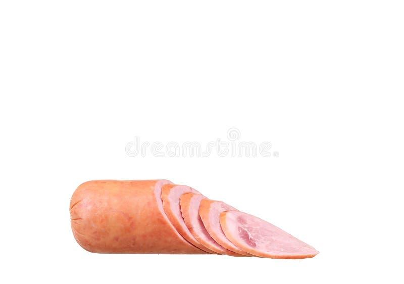 Ham On White Background affumicato fotografia stock libera da diritti