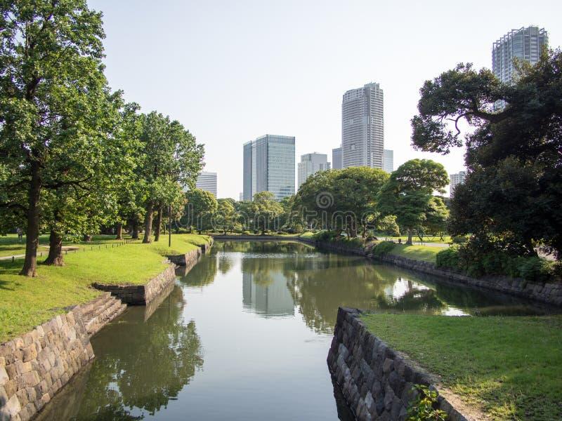 Beautiful Hama Rikyu Garden, Tokyo, Japan. Hama Rikyu 浜離宮, Hama Rikyū, is a large, attractive landscape garden in central Tokyo. Located stock photography
