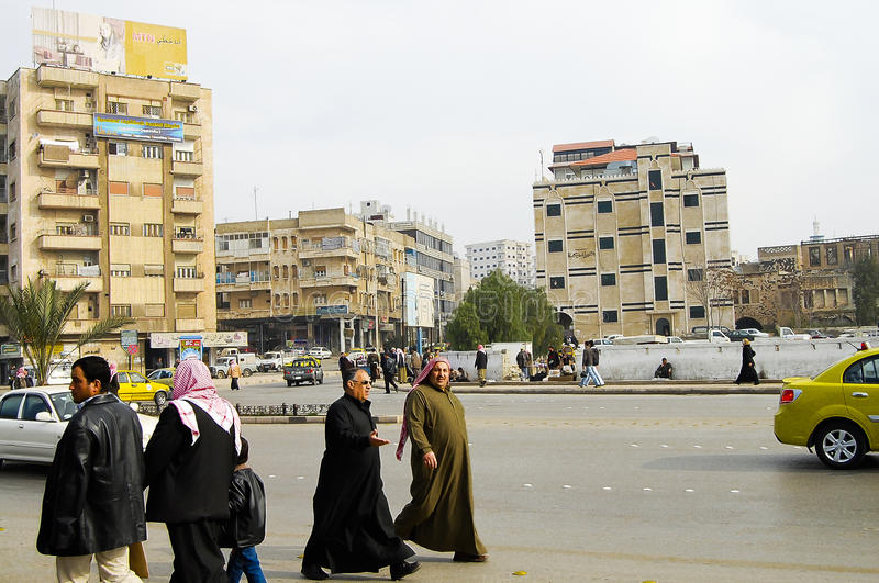 HAMA, SYRIË - Januari 13, 2010 royalty-vrije stock fotografie