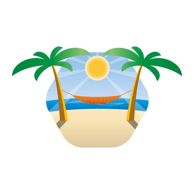 Hamac entre les palmiers sur une plage tropicale Fond du soleil et de la mer illustration stock
