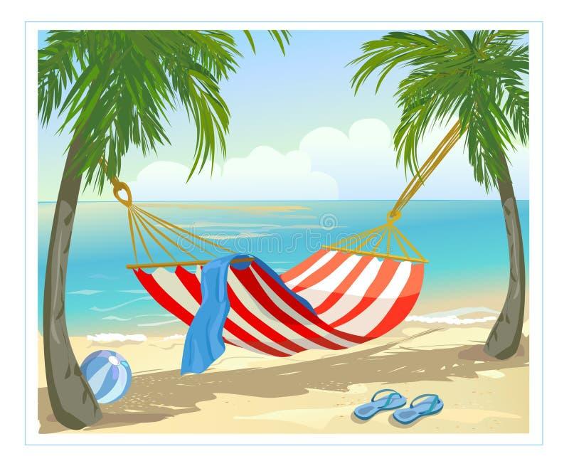 Hamac, palmiers sur la plage illustration de vecteur