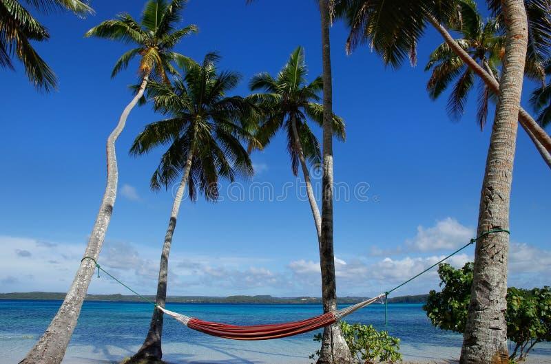 Hamaca colorida entre las palmeras, isla de Ofu, grupo de Vavau, a fotos de archivo libres de regalías