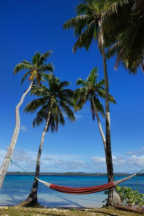 Hamaca colorida entre las palmeras, isla de Ofu, grupo de Vavau, a imágenes de archivo libres de regalías