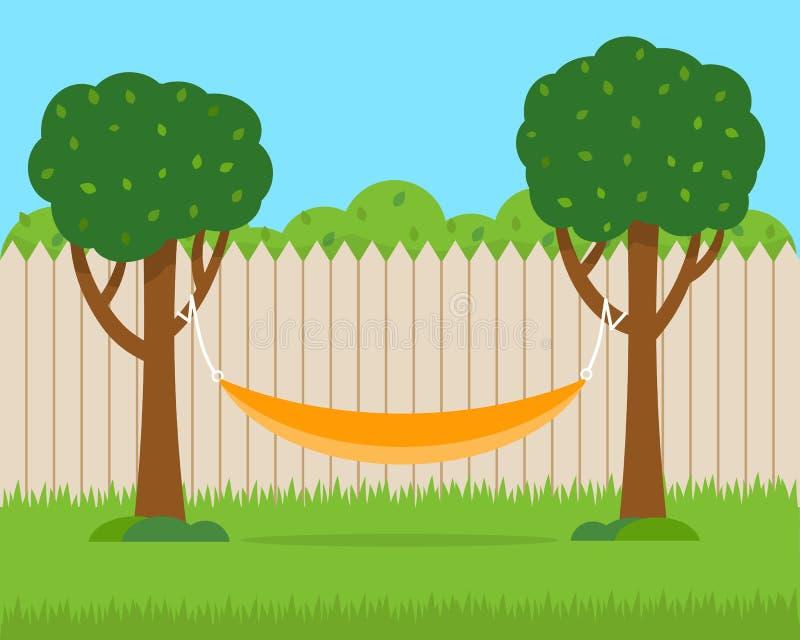 Hamaca con los árboles en patio trasero de la casa stock de ilustración