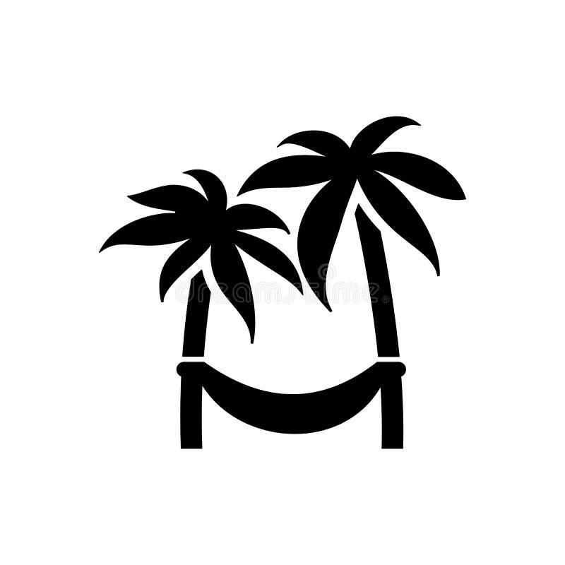 Hamaca en icono de la palma Playa y vector del icono de las vacaciones stock de ilustración
