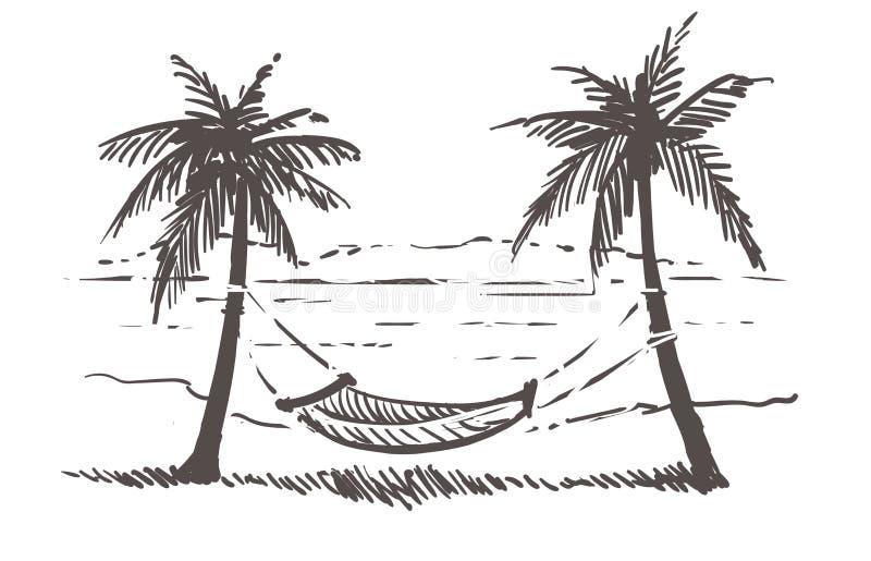Hamaca entre las palmeras en la playa del mar Ejemplo exhausto del bosquejo de la mano de Samui stock de ilustración