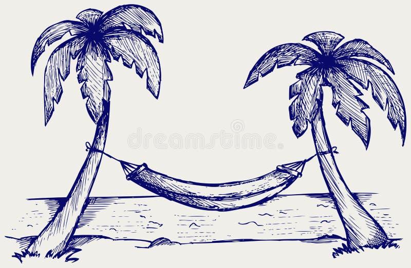 Hamaca romántica entre las palmeras stock de ilustración
