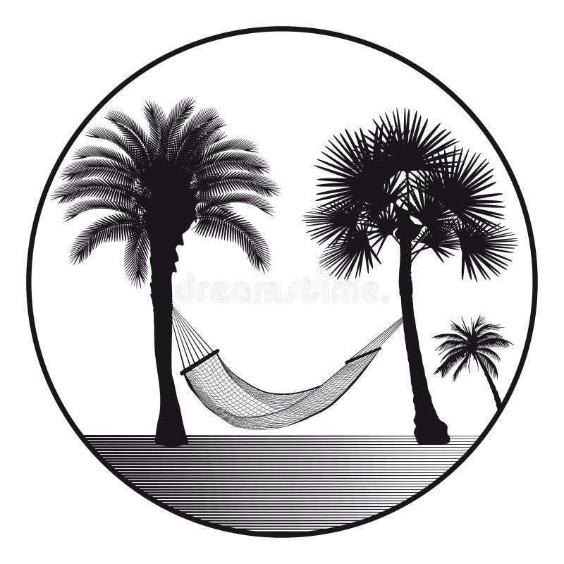 Hamaca y palmeras stock de ilustración